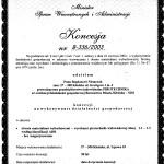 Certyfikat - koncesja 1